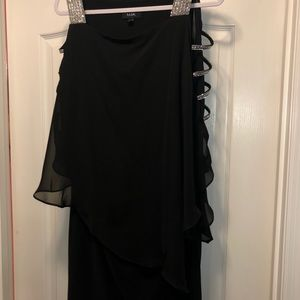 Black sheer cocktail dress with rhinestones